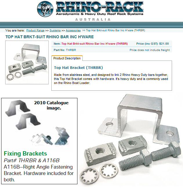 Rhino Rack - Top Hat Bracket THRBR   goes up under a Rhino-Rack bar  and into a bracket under your  roof-topper.