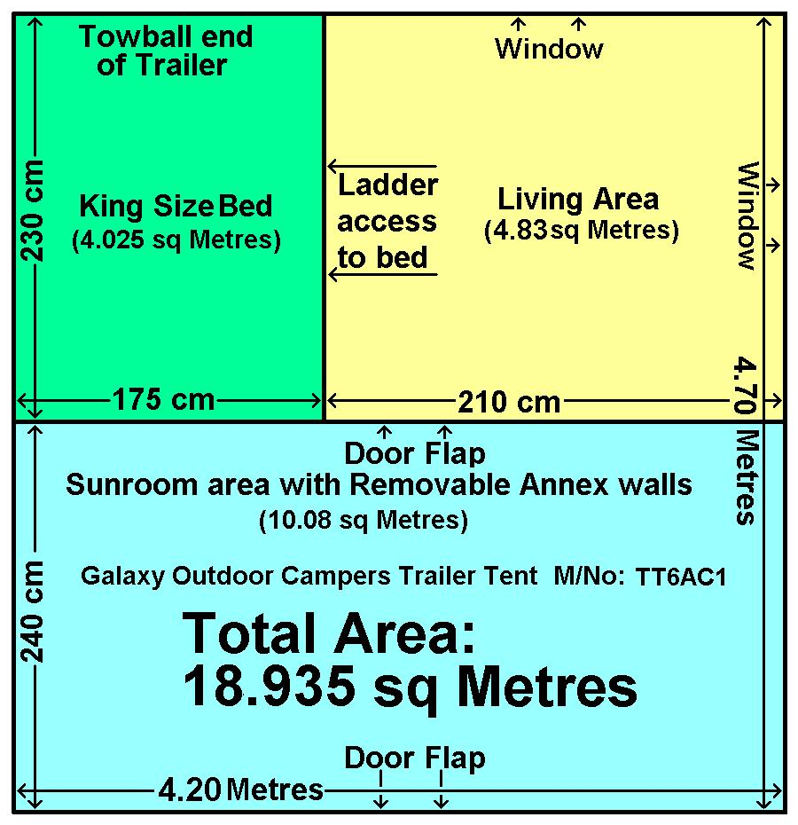 Floor layout and square-metre area plan for the